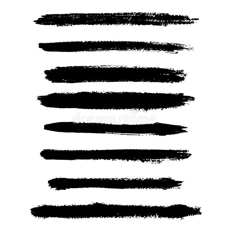 Färgpulverborstelinje samling, uppsättning Torr slaglängd för Grunge royaltyfri illustrationer