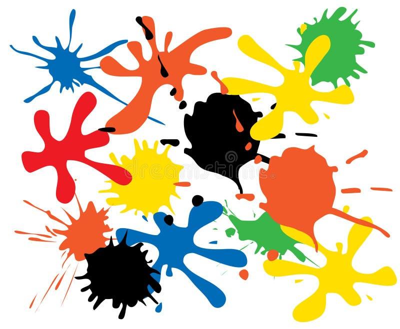 färgpulverfläckar vektor illustrationer