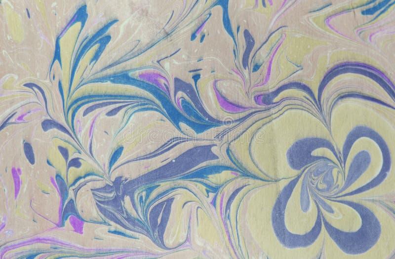Färgpulvermarmortextur Ebru handgjord vågbakgrund Yttersida för Kraft papper Unik konstillustration Vätskemarmorera textur vektor illustrationer