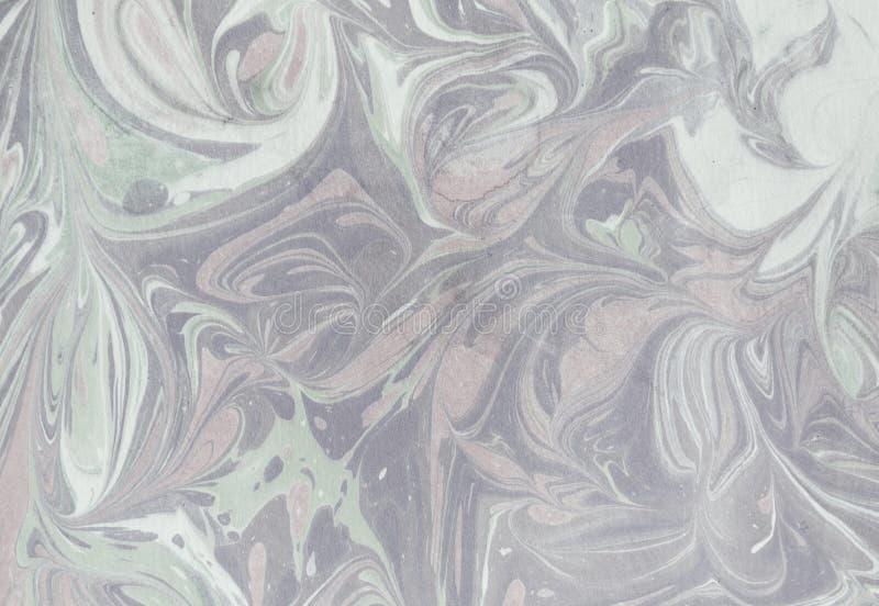 Färgpulvermarmortextur Ebru handgjord vågbakgrund Yttersida för Kraft papper Unik konstillustration Vätskemarmorera textur stock illustrationer