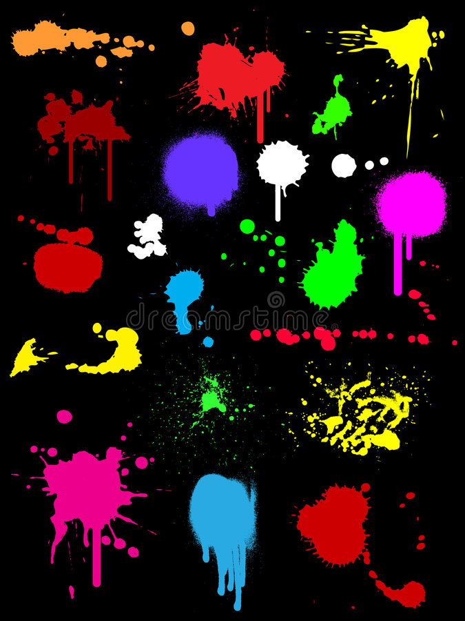 färgpulversplats stock illustrationer
