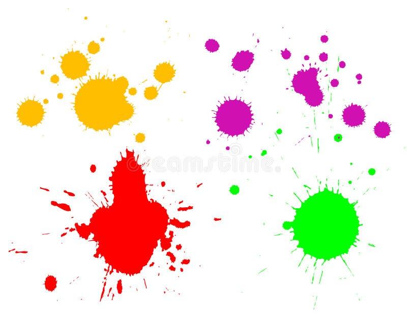 färgpulversplatters stock illustrationer