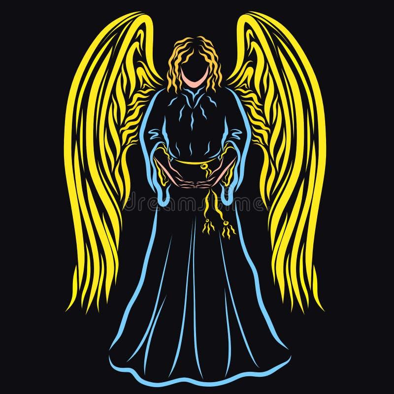 Färgrik ängel på en svart bakgrund som rymmer något i händer stock illustrationer