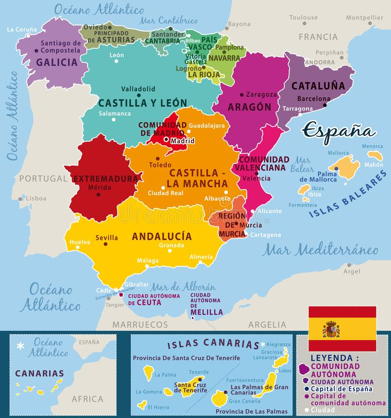 Färgrik översikt av Spanien Federala länder och viktiga städer royaltyfri illustrationer