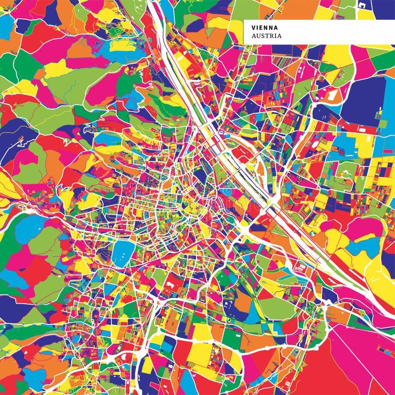 Färgrik översikt av Wien, Österrike royaltyfri illustrationer