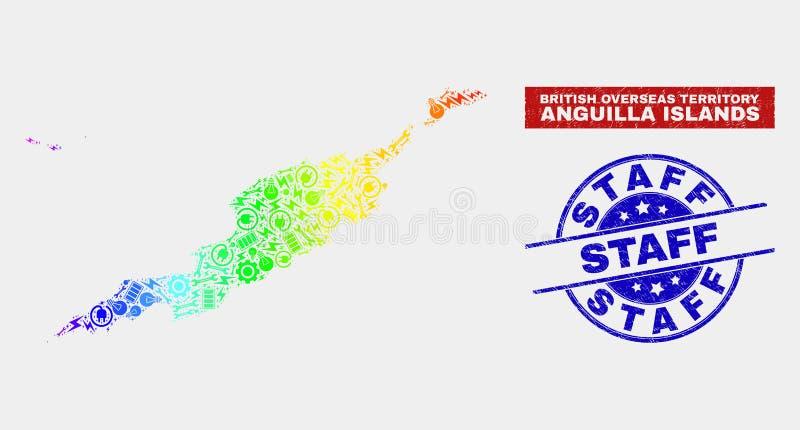 Färgrik översikt för fabriksAnguilla öar och att bedröva personalstämpelskyddsremsor vektor illustrationer