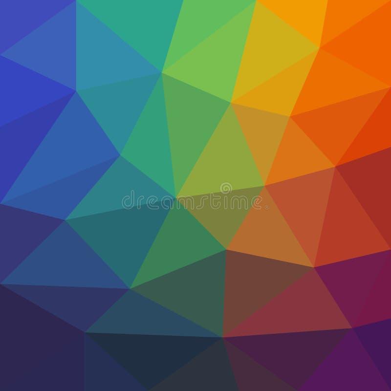 Färgrik abstrakt bakgrund av assymetriska trianglar vektor illustrationer