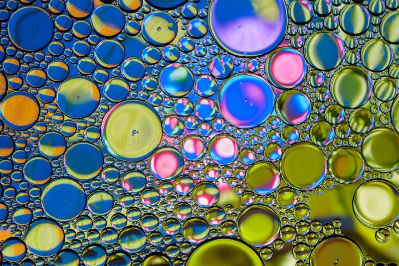 Färgrik abstrakt bakgrund för vattenoljabubblor Mångfärgad stilfull bakgrund royaltyfria bilder