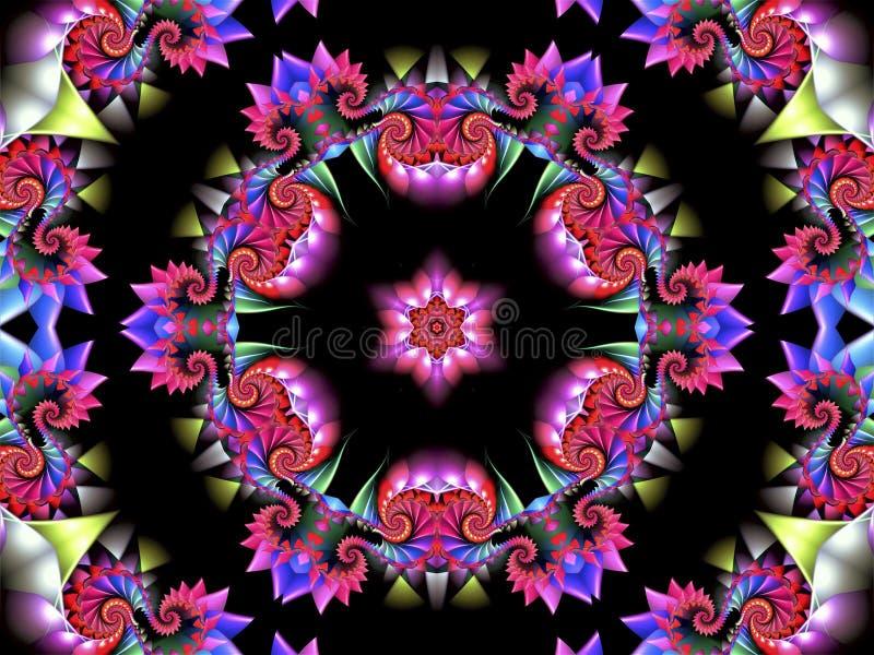 Färgrik abstrakt bakgrund med enfärgad rund prydnad med olika former och en härlig abstrakt stjärna i centen royaltyfri illustrationer