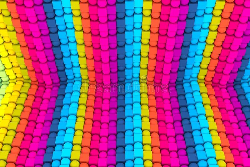 färgrik abstrakt bakgrund med kuben på asken och sfären 3d royaltyfri illustrationer