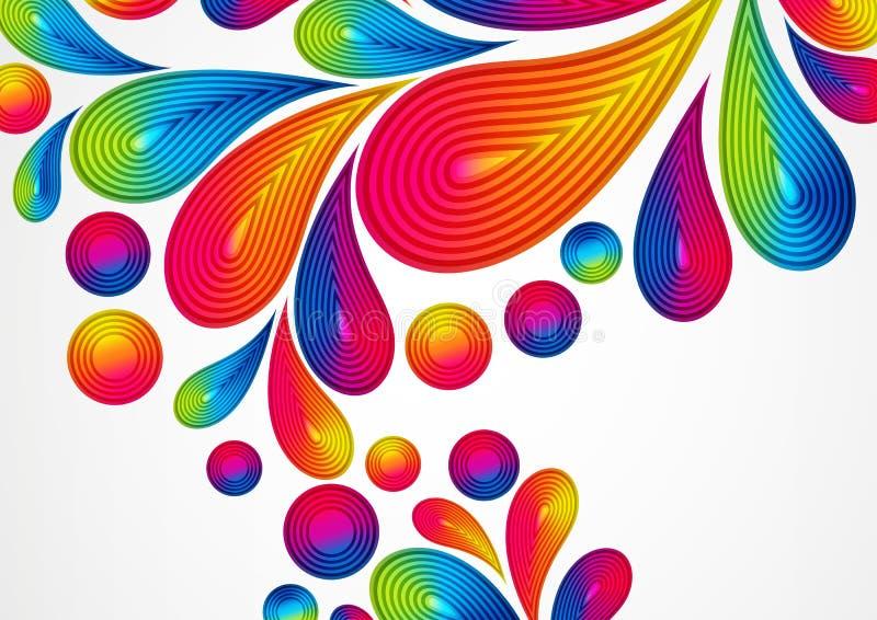 Färgrik abstrakt bakgrund med randiga droppar plaskar royaltyfri illustrationer