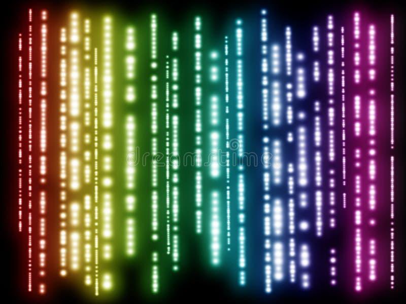 Färgrik abstrakt bakgrund, regnbågefärger, vertikala linjer av ljus på en mörk bakgrund royaltyfria bilder