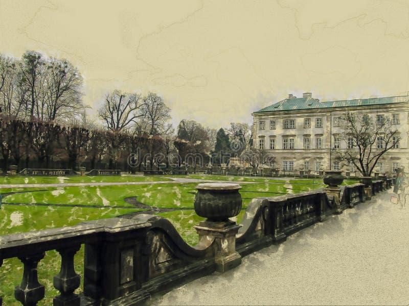 Färgrik abstrakt bakgrund, regnbågefärger, vertikala linjer av ljus på en mörk bakgrund Salzburg royaltyfri fotografi