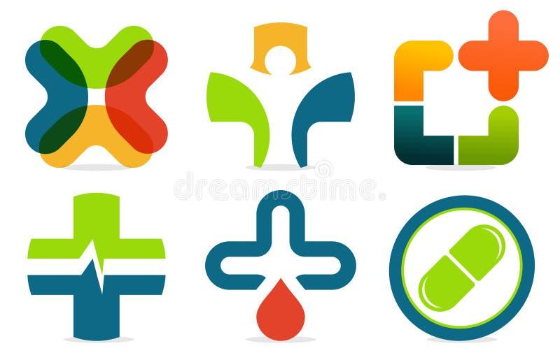 Färgrik abstrakt begreppmed-logo Samling för vektormedicinkors Plus teckenuppsättning royaltyfria bilder