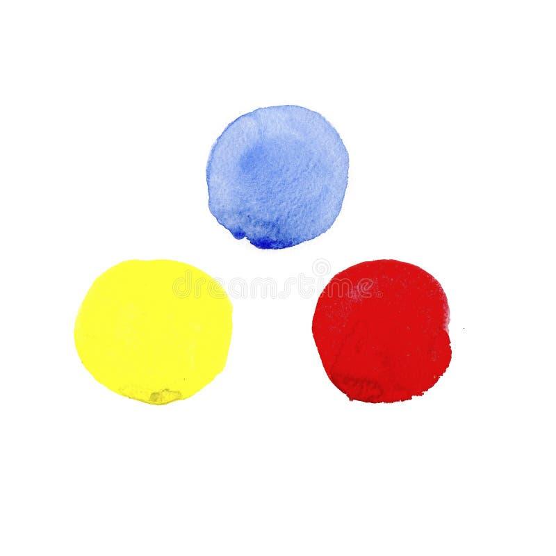 Färgrik abstrakt fastställd målning för borsteslaglängdvattenfärg på vit bakgrund Härlig beståndsdel för design royaltyfri illustrationer