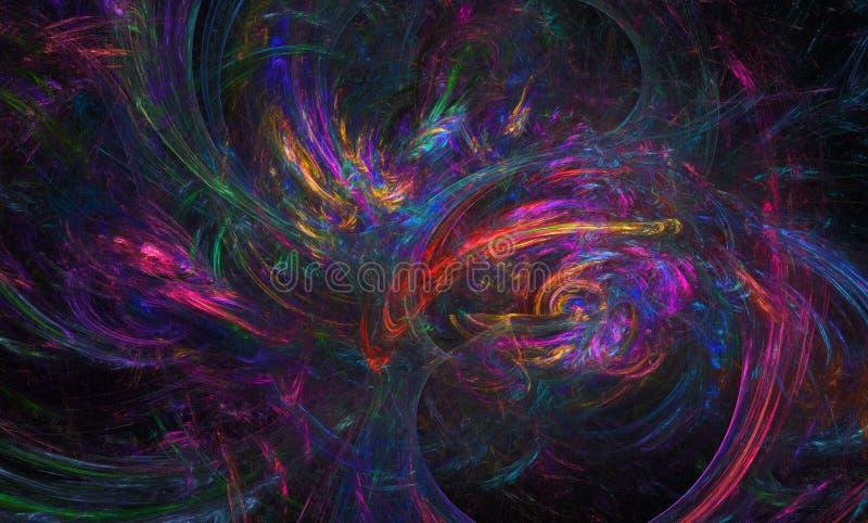 Färgrik abstrakt fractalbild Skrivbords- tapet Idérikt digitalt konstverk stock illustrationer