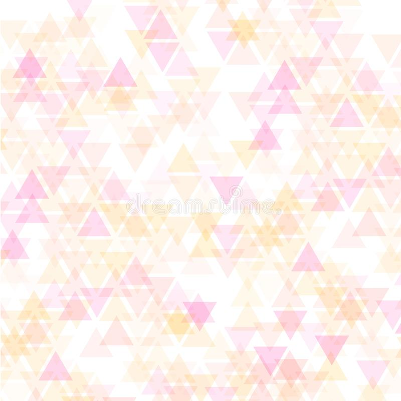 Färgrik abstrakt geometrisk affärsbakgrund, varma rosa färger och orange färger för gul guld, genomskinliga trianglar, stock illustrationer