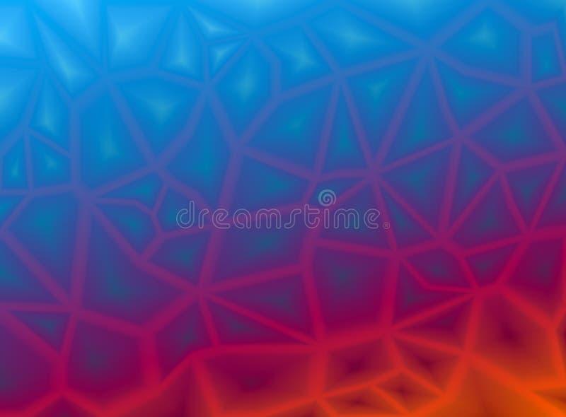 Färgrik abstrakt geometrisk bakgrund med triangulära polygonal polygoner Från blått för is som avfyrar rött Sl?t ?verg?ng royaltyfri illustrationer