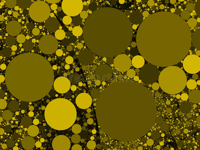 Färgrik abstrakt gul guld cirklar bakgrundsillustrationen royaltyfri bild