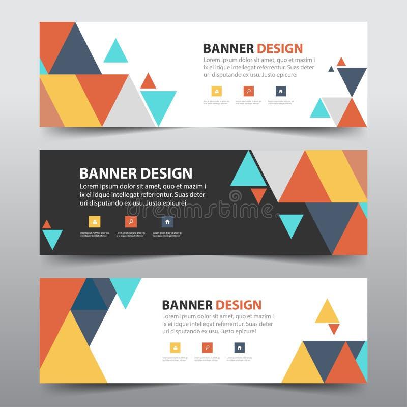 Färgrik abstrakt mall för baner för företags affär för triangel, horisontaldesign för lägenhet för mall för orientering för baner royaltyfri illustrationer