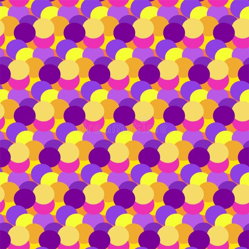 Färgrik abstrakt prickbakgrund Bakgrund för cirkelkonstrunda Sömlös modellgarnering Beståndsdel för färgtexturferie stock illustrationer