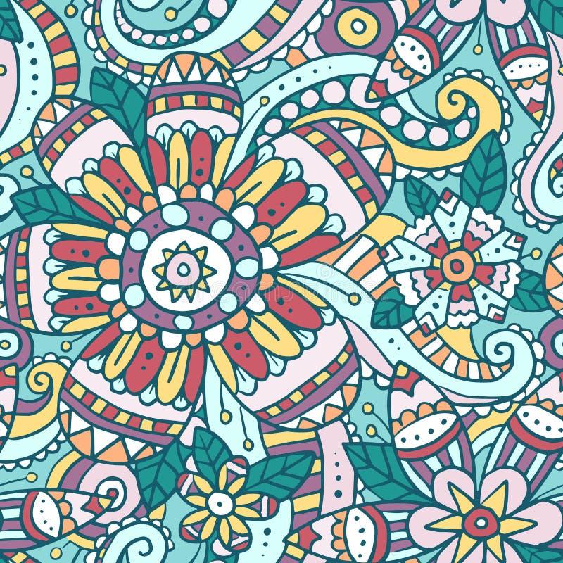 Färgrik abstrakt sömlös modell med blommor stock illustrationer