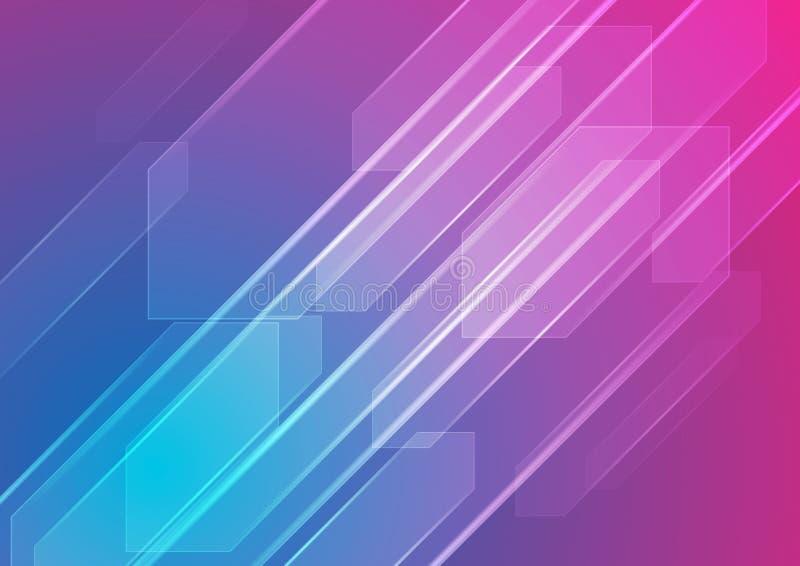 Färgrik abstrakt techbakgrund för blått och för lilor royaltyfri illustrationer