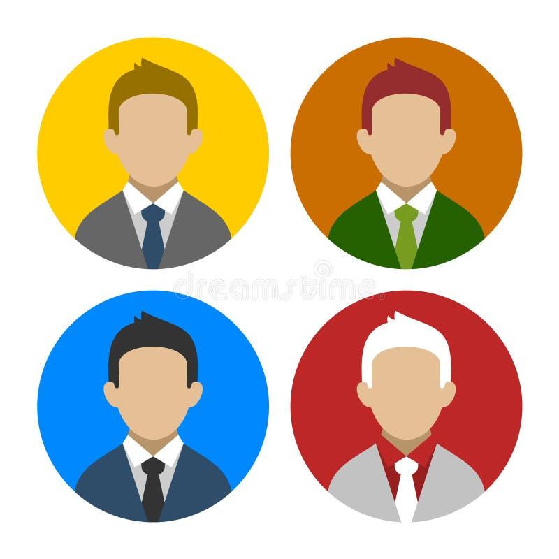Färgrik affärsman Userpics Icons Set i lägenhet royaltyfri illustrationer