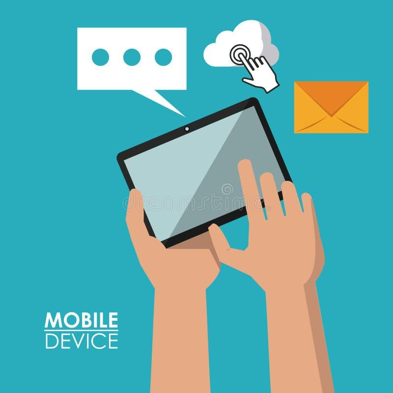 Färgrik affisch av mobila enheter med händer som rymmer minnestavlan och gemensamma symboler i bakgrund vektor illustrationer