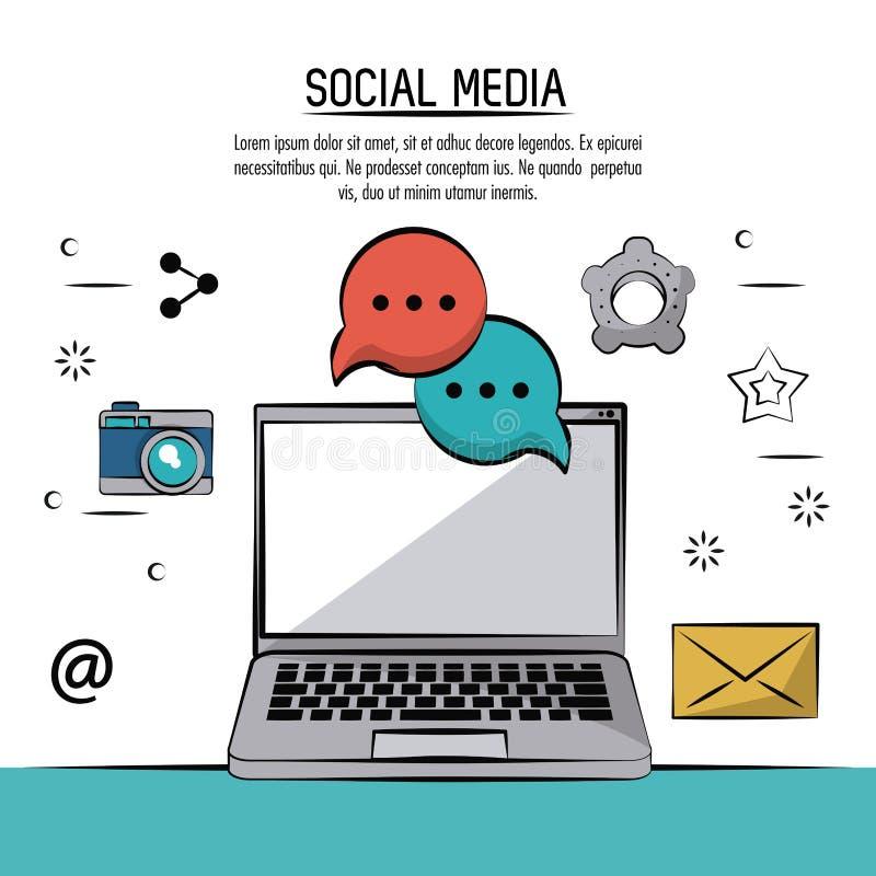 Färgrik affisch av socialt massmedia med kameran för bärbar datordator och symbolsoch anförandebubblor och post royaltyfri illustrationer