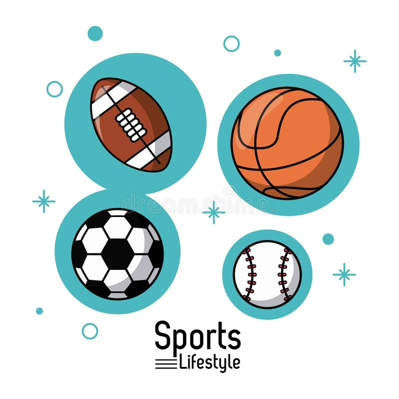 Färgrik affisch av sportlivsstilen med bollar av fotboll och basket och fotboll och baseball royaltyfri illustrationer