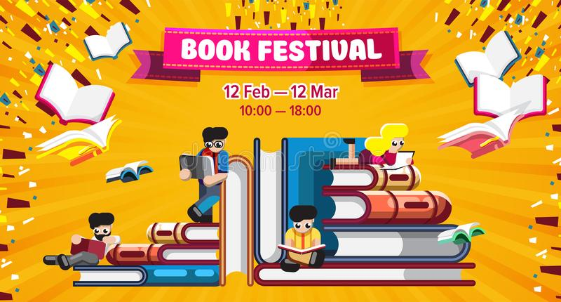 Färgrik affisch för bokfestivalbefordran vektor illustrationer
