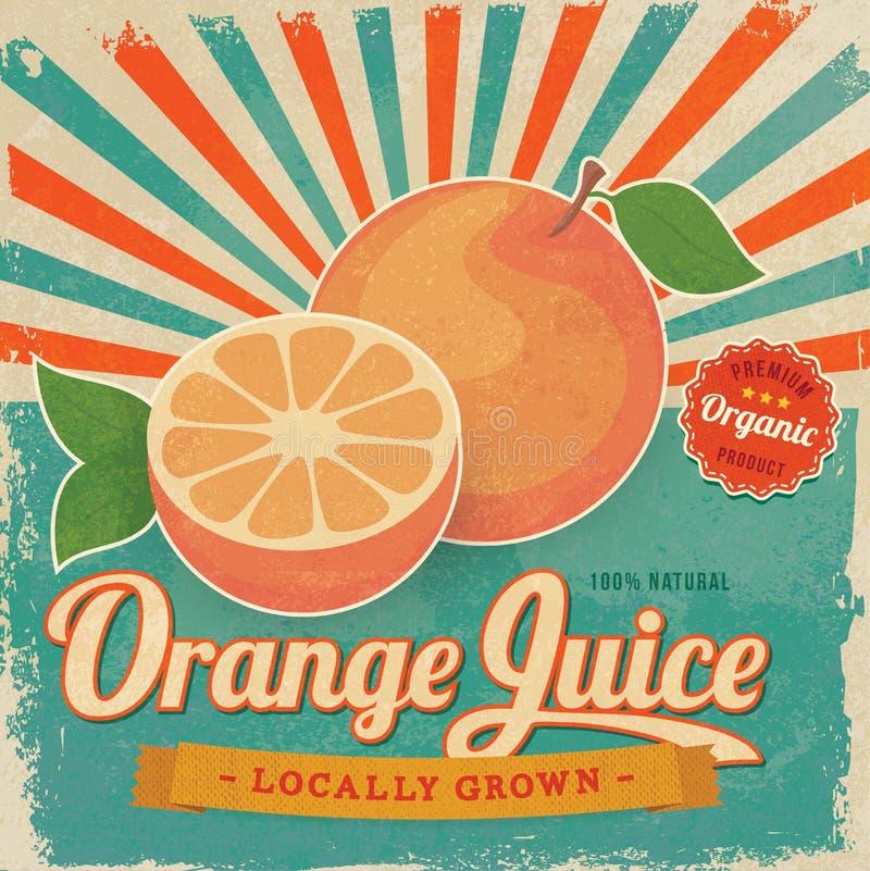 Färgrik affisch för etikett för orange fruktsaft för tappning vektor illustrationer
