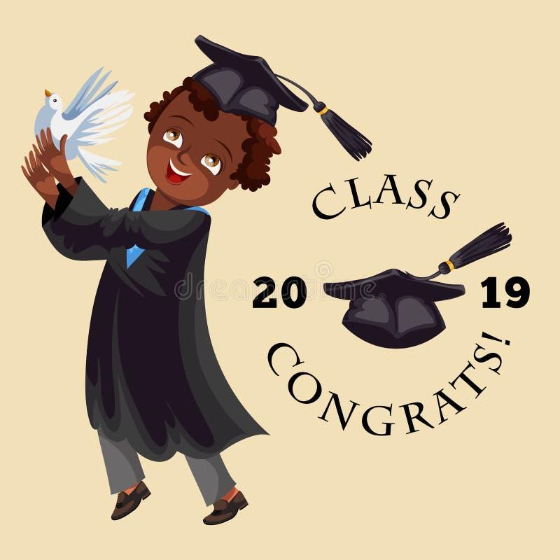 Färgrik affisch för högskolaavläggande av examenlägenhet med illustrationen 2018 för vektor för inskriftgruppcongrats vektor illustrationer