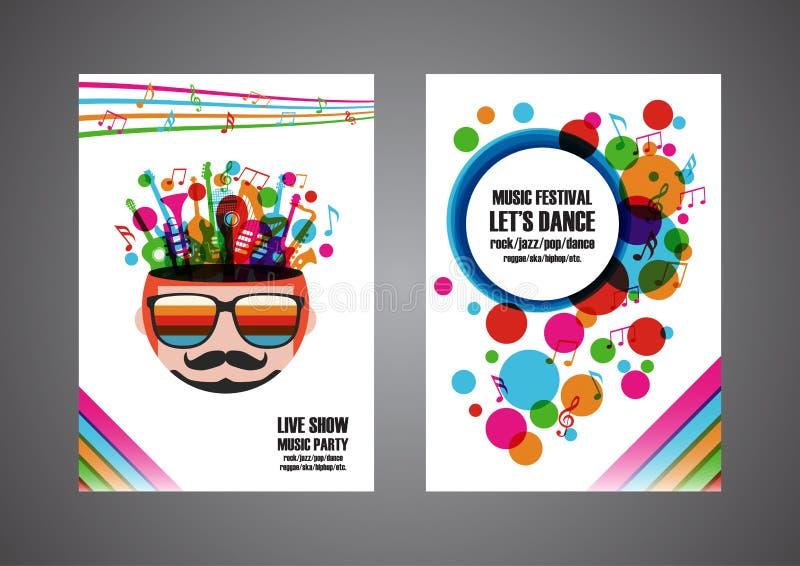 Färgrik affisch för musikfestival stock illustrationer