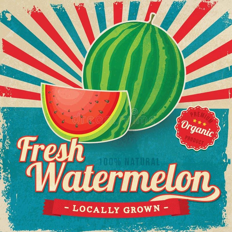 Färgrik affisch för tappningvattenmelonetikett royaltyfri illustrationer