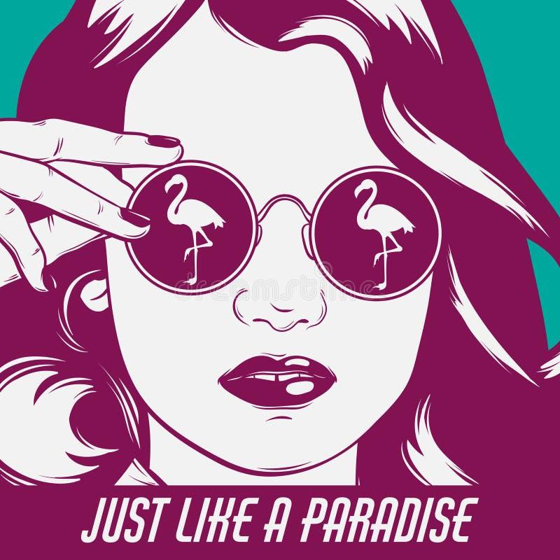 Färgrik affisch för vektor med den hand drog illustrationen av flickan i solglasögon med flamingo royaltyfri illustrationer