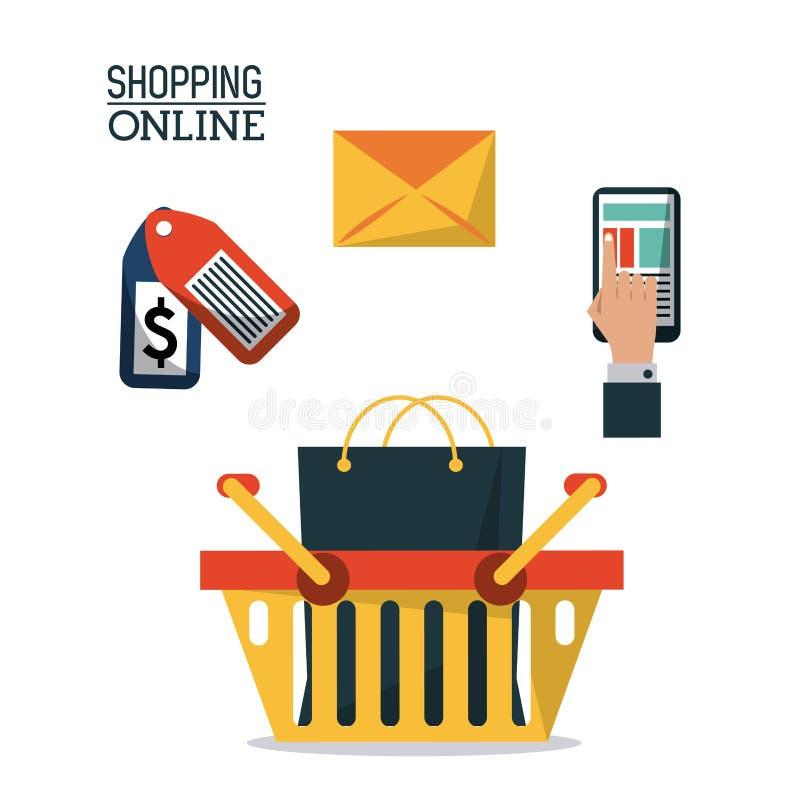 Färgrik affisch som direktanslutet shoppar med shoppingkorgen och symboler för att köpa överst vektor illustrationer