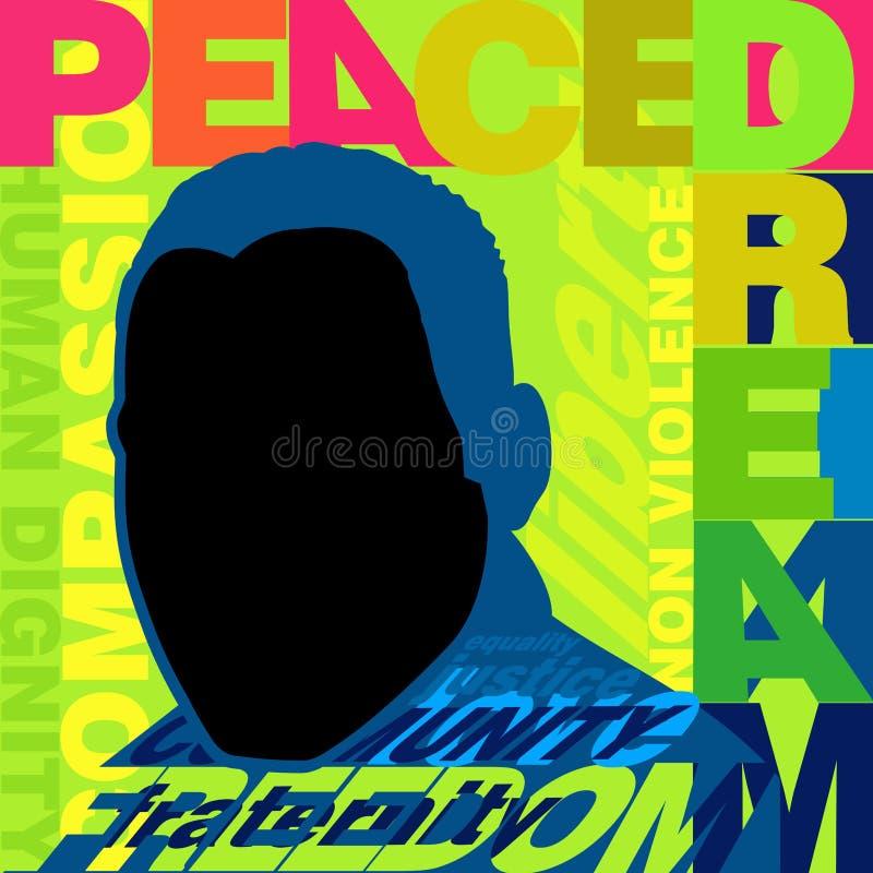 Färgrik affisch som främjar fred och non våld för den Martin Luther King dagen stock illustrationer
