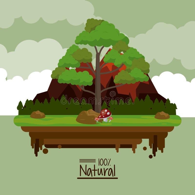 Färgrik affisch som hundra procent är naturlig med landskap av steniga berg och fältet med trädet i closeup vektor illustrationer