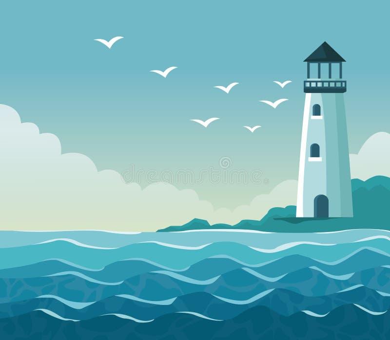 Färgrik affischsjösida med fyren i kust vektor illustrationer
