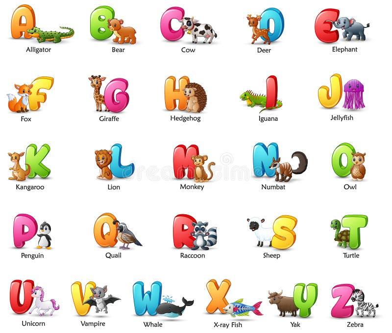 Färgrik alfabetuppsättning för tecknad film med olika djur royaltyfri illustrationer