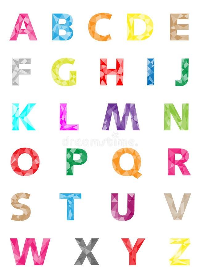 Färgrik alfabetuppsättning - geometrisk modell för diamant royaltyfri illustrationer