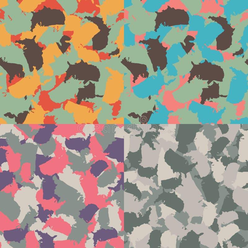 Färgrik Amerika stads- kamouflage Uppsättning av den sömlösa modellen för USA formcamo Vektortygtextil Militär tryckdesign vektor illustrationer