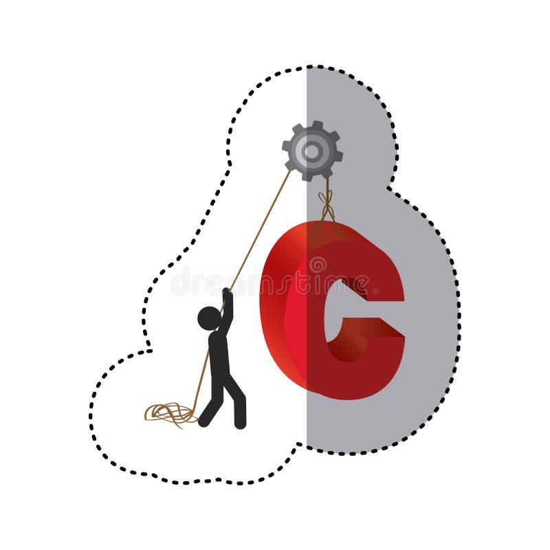 färgrik arbetare för klistermärke med blockinnehavord c royaltyfri illustrationer