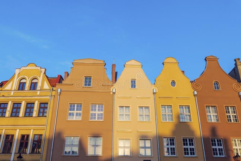 Färgrik arkitektur av den huvudsakliga fyrkanten i Grudziadz arkivbild