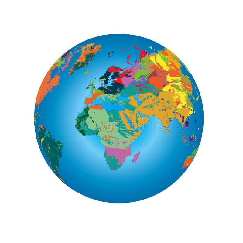 Färgrik Art Painting Illustration Background Pattern för jordklot för spektrumPIXELvärldskarta textur royaltyfri illustrationer