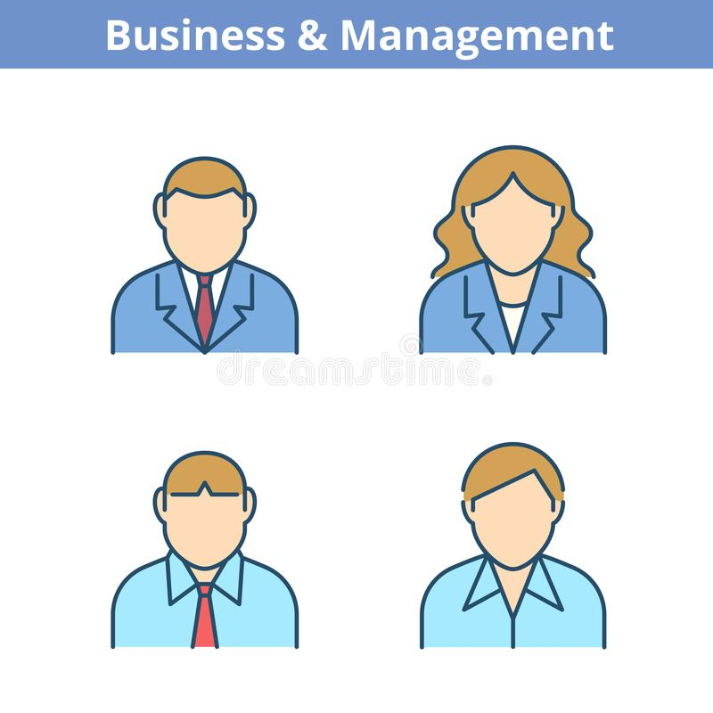 Färgrik avataruppsättning för ockupationer: affärsman affärskvinna, man royaltyfri illustrationer