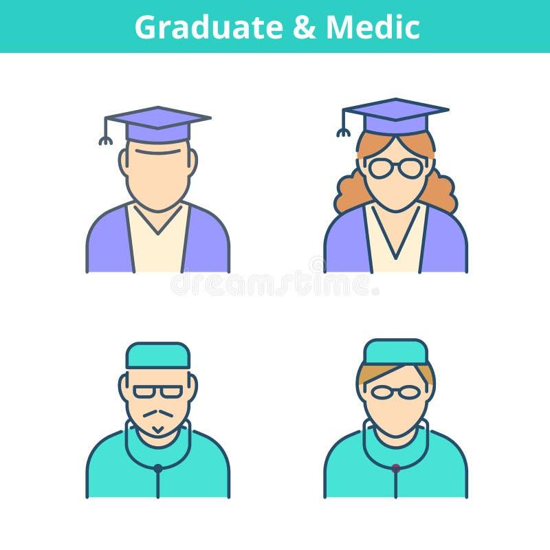 Färgrik avataruppsättning för ockupationer: doktor läkare, kandidat Tunn nolla royaltyfri illustrationer