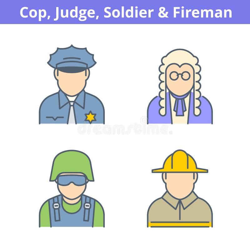 Färgrik avataruppsättning för ockupationer: domare polis, brandman som säljs stock illustrationer